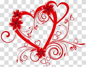 Jantung, Hati dengan Bunga, karya seni digital jantung bunga merah png