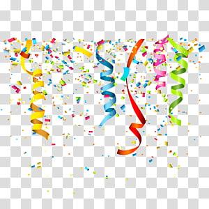 Pesta Ulang Tahun Confetti, pita Confetti, ilustrasi dekorasi pesta aneka warna png