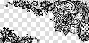 Lace, Black French Floral Border, ilustrasi bunga hitam PNG clipart