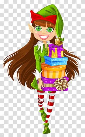 elf memegang hadiah, Santa Claus Natal elf, Natal Gadis Elf dengan Hadiah png