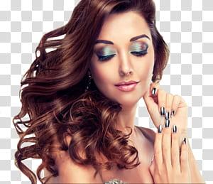 Wig renda, Salon Kecantikan Rias Wajah, model makeup, wanita menyentuh telinganya dengan mata terpejam PNG clipart