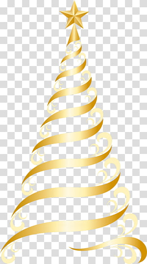 ilustrasi pohon Natal emas, hiasan pohon Natal, Pohon Emas Deco PNG clipart