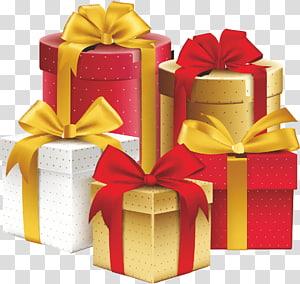 lima macam warna kotak hadiah grafis, kotak Hadiah Pita Hias Ulang Tahun, Hadiah png