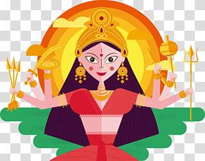 Ilustrasi dewa Hindu, India Durga Puja Navaratri Thai Pongal Diwali, dewi enam tangan png