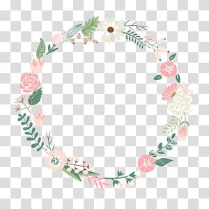 Flower frame Wreath, Floral Frame, ilustrasi karangan bunga hijau, putih, dan merah muda PNG clipart