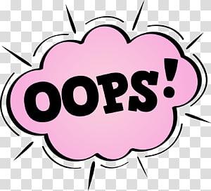 hitam dan pink oops!karya seni, Komik ledakan awan dialog png