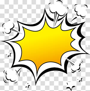 Ilustrasi balon Komik Ilustrasi, perbatasan efek ledakan Kartun, template balon ucapan hitam dan kuning png