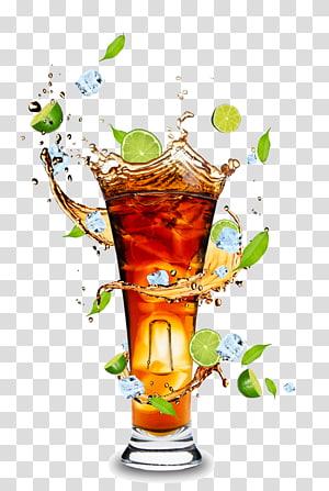 Jus jeruk Rum dan Coke Cola jus jeruk, jus buah dan gelas minuman bahan HD, ilustrator koktail jeruk nipis PNG clipart