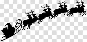 Rusa Santa Claus Siluet Kereta Luncur, Siluet Santa Sleigh png