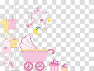 ilustrasi kereta dorong merah muda, Kertas Ilustrasi Teks, Baby Creative png