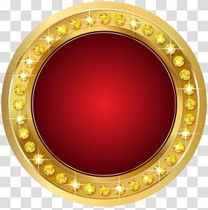Gold Scalable Graphics, Seal Gold Red, batu permata bulat berwarna emas dan merah PNG clipart