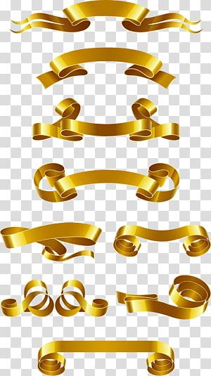 Web banner Ribbon Euclidean, Bahan spanduk pita emas, banyak pita emas png