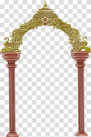 Krishna Shiva Ganesha Frames, pernikahan hindu, ilustrasi kuil coklat png