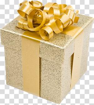 coklat dan hitam filigree print gift box, hadiah Natal Gold, Cream Present Box dengan Gold Bow png