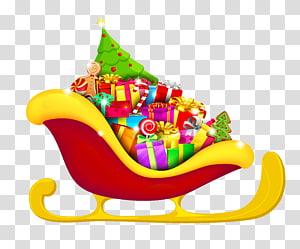Kereta luncur Natal merah dan kuning dengan kotak hadiah, hadiah Natal, Kereta Luncur Merah Natal dengan Hadiah png