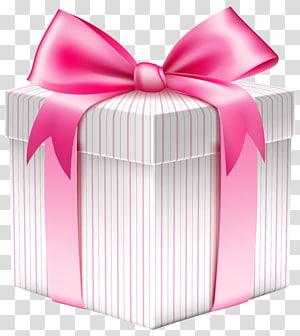 ilustrasi kotak hadiah bergaris-garis merah muda dan putih, Kotak hadiah Natal, Kotak Hadiah Bergaris Putih png