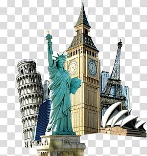 Pariwisata Menara Eiffel Patung Liberty Travel, landmark dunia gesper kreatif HD Gratis, Patung Liberty, Big Ben, Menara Eiffel, Menara Miring Pisa, dan Gedung Opera Sydney png