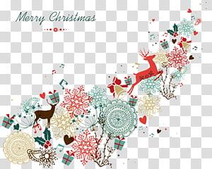 ilustrasi rusa Merry Christmas berwarna-warni, pakaian Natal Santa Claus Natal, Natal Kreatif png