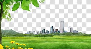 lapangan rumput animasi di samping bangunan, Bangunan Arsitektur, bahan latar belakang bangunan Kota PNG clipart