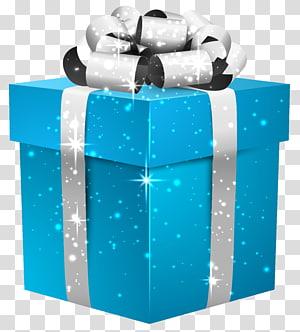 File kotak hadiah Glenna Farms Computer, Blue Shining Gift Box dengan Silver Bow, kotak hadiah biru png