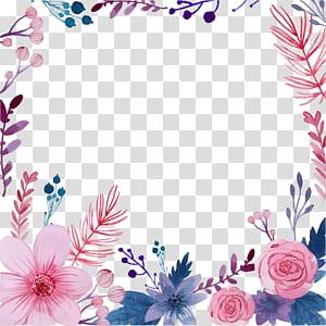 Ilustrasi lukisan Cat Air Bunga, Bunga cat air kreatif, lukisan bunga merah muda dan biru png