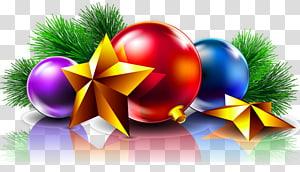 pernak-pernik biru, ungu, dan merah, Kartu Natal Hari Natal, Harapan Tahun Baru, Bola Natal dan Bintang png