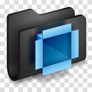 folder hitam dan biru, sudut tampilan font perangkat multimedia, Dropbox Black Folder png