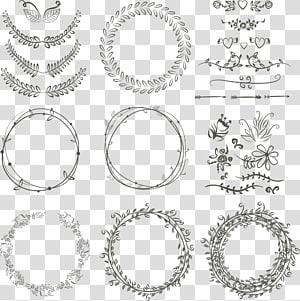 laurel karangan bunga, undangan pernikahan, menggambar grafik yang bisa diukur, cincin bunga, sketsa bunga hitam PNG clipart