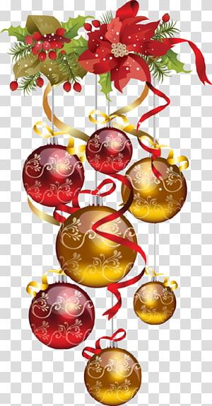 pernak-pernik berwarna merah dan emas, pohon Natal, Natal png