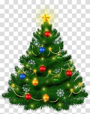 pohon Natal hijau dengan pernak-pernik, pohon Natal, Pohon Natal Cantik PNG clipart