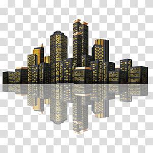 ilustrasi gedung pencakar langit hitam-dan-kuning, Euclidean Building Icon, refleksi arsitektur lansekap kota lanskap malam yang kompleks PNG clipart