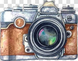Kamera Lukisan Cat Air Gambar, kamera dicat, ilustrasi kamera abu-abu dan coklat png
