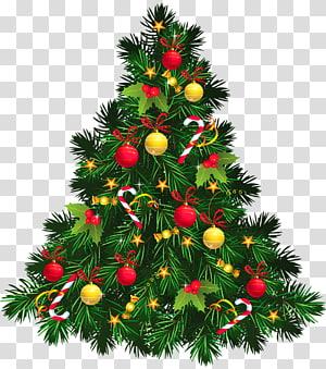 Pohon Natal Dekorasi Natal, Pohon Natal dengan Ornamen, ilustrasi pohon Natal hijau PNG clipart