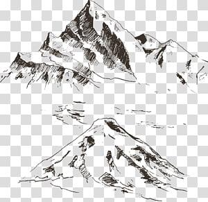 ilustrasi gunung, Sketsa Gambar, Gunung yang dilukis dengan tangan PNG clipart