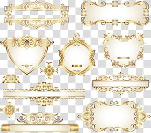 Ornament Gold, bahan desain dekoratif, pola emas, aneka warna hiasan png