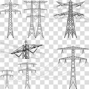 hitam tiang lampu listrik ilustrasi, Menara transmisi Saluran listrik overhead. Transmisi daya listrik. Listrik, kawat tegangan tinggi png