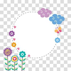 biru, putih, pink, dan ungu floral boarder, batas awan png