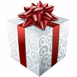 kotak hadiah putih dan merah, hadiah Natal hadiah Natal Santa Claus, Hadiah Putih dengan Pita Merah png