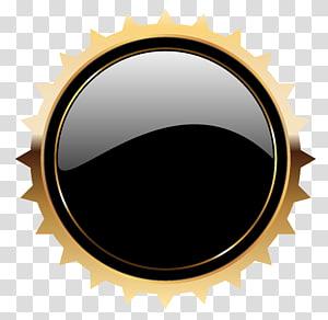 Tombol web, Black Seal Badge Template, dekorasi bulat hitam dan kuning PNG clipart