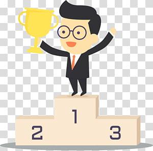 pria yang memegang piala, Trophy Podium, pemenang PNG clipart