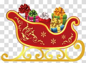 kereta luncur merah dengan ilustrasi hadiah, kereta luncur Santa Claus, Kereta luncur rusa Santa Claus, Kereta luncur Natal png