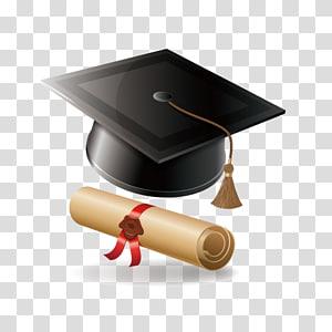 black mortarboard, Graduate diploma Upacara kelulusan Gelar sarjana, Bachelor of cap diploma png