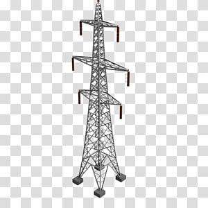 ilustrasi menara listrik abu-abu, Menara transmisi Listrik Transmisi daya listrik Tiang listrik Overhead, menara listrik png