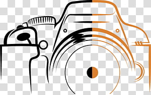 Logo Kamera, Stroke Kamera Digital, ilustrasi kamera hitam dan oranye png