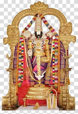 dekorasi altar rumah berwarna emas, Kuil Tirumala Venkateswara Krishna Dewa, Venkateswara HD png