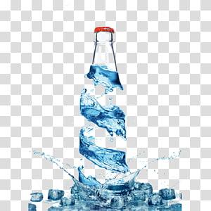 ilustrasi botol air dan es batu, Air botolan Air murni Air minum, Air kreatif tiga dimensi, botol png