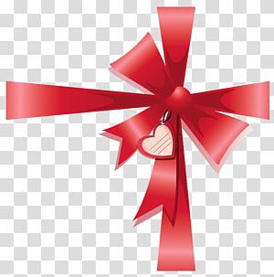 pita merah dengan aksen jantung, Pita Kertas Pembungkus Kado Cara, Valentine Dekorasi Busur dengan Hati png